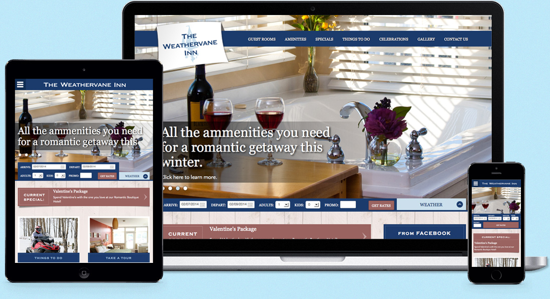 Responsive web design example of the Weathervan Inn's website.